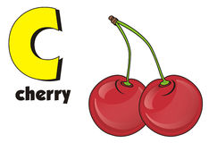 Cherry and abc. Red cherry with letter and word vector illustration