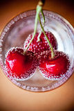 Fresh Cherry in air bubbles.  Royalty Free Stock Photo