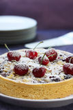Cherry and Almond Pie. Or tart, ready for serving Royalty Free Stock Photography