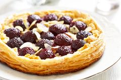 Cherry and Almond Tart royalty free stock photography