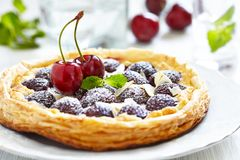 Cherry and Almond Tart Stock Photography