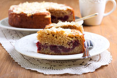 Cherry and almond topping coffee cake Stock Photography