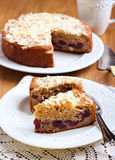 Cherry and almond topping coffee cake Stock Image