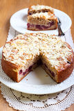 Cherry and almond topping coffee cake Stock Images