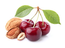 Cherry with almonds stock photos