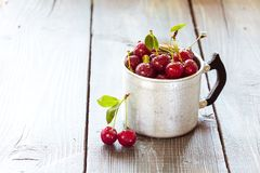 Cherry in a aluminum cup Stock Image
