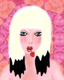 Cherry Amour. Portrait of a blond with a cherry in her mouth Royalty Free Stock Photos