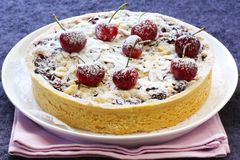 Cherry And Almond Tart Royalty Free Stock Image