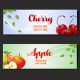 Cherry apple horizontal banner. Two cherry apple horizontal banner Royalty Free Stock Photo