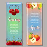 Cherry apple vertical banner. Two cherry apple vertical banner Royalty Free Stock Images