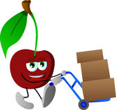 Cherry as delivery man Stock Images