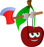 Cherry with an axe Royalty Free Stock Images
