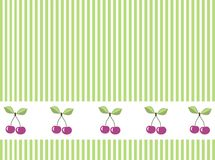 Cherry  vector background. Cherries border on green and white stripes  vector background Stock Photo