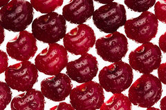 Cherry background. Ripe fresh  glossy rich cherries on white background.  Macro.  Texture. Pattern. Fruit background. Stock Photos
