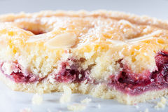 Cherry Bakewell Tart Stock Photo