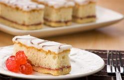 Cherry Bakwell Sponge Cake With Glazed Cherries. Royalty Free Stock Image