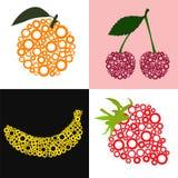 Cherry, banana, strawberry, orange. Vector illustration, cherry, banana, strawberry, orange made of circles Royalty Free Stock Photography