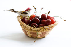 Cherry basket. A basket full of cherries Royalty Free Stock Photography