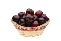 Cherry in basket. On white background Royalty Free Stock Photo