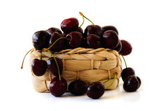 Cherry basket fresh cherries background top view. Cherry jam cherry basket fresh cherries background top view Royalty Free Stock Image