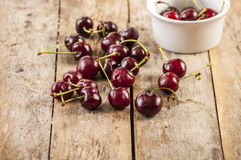 Cherry basket fresh cherries/ sweet cherries Stock Images