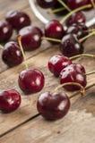 Cherry basket fresh cherries/ sweet cherries Stock Photo