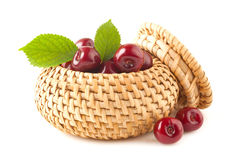 Cherry in basket Stock Images