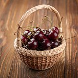 Cherry in the basket Royalty Free Stock Photography
