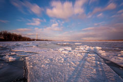 Cherry Beach van Toronto tijdens de winter Stock Fotografie