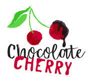 Cherry berries with chocolate fruit label. And sticker. Vector illustration in watercolor style, for graphic and web design Royalty Free Stock Photo