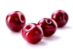 Cherry berries close-up on white background stock photography