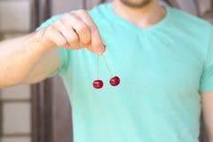 Cherry Berries en fingeres del hombre Imagen de archivo libre de regalías