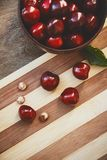Cherry berries and fruit pits Stock Photos