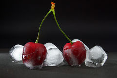 Cherry berries in ice Stock Photos