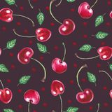 Seamless pattern with cherries on a dark red background stock illustration