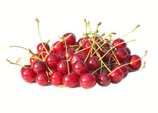 Cherry Berries lokalisierte auf weißem Hintergrund Stockfotos