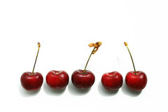 Cherry berries in a row Royalty Free Stock Images