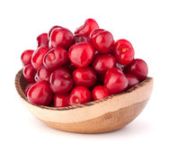Cherry berries in wooden bowl Royalty Free Stock Image