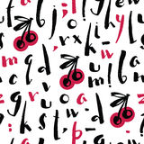 Cherry Berry alphabet Brush calligraphy Seamless pattern. Set Stock Photos