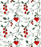 Cherry Berry Seamless Pattern Illustration Stock Photos