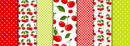 Cherry berry and spring geometric seamless patterns set vector.  vector illustration