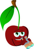 Cherry with binoculars Royalty Free Stock Images