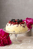 Cherry and blackberry cheesecake Stock Images