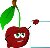 Cherry with blank board Royalty Free Stock Photography