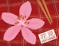 Cherry Bloom und Tischdecke für Picknick in Hanami-Festival, Vektor-Illustration vektor abbildung