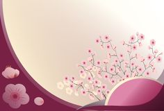 Cherry blossom. Vector illustration of a card width cheery branches Royalty Free Stock Images