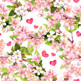 Cherry Blossom, Apple Pink Flowers, Hearts. Floral Repeating Pattern For Valentine Day Or Wedding. Watercolor Royalty Free Stock Photo