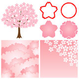 Cherry blossom background. Set of cherry blossom decoration. Vector illustration Stock Images