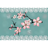 Cherry blossom branch sakura card. With lace royalty free illustration