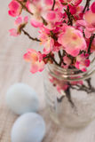 Cherry Blossom branches in glass jar vase with pastel blue Easte. Cherry Blossom flower branches with pastel blue Easter eggs Royalty Free Stock Photos